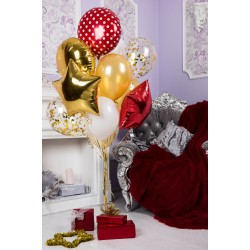 Красно-золотой фонтан из 12 шаров с фольгированными шарами