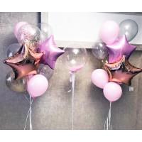 Баблс с розовыми перьями и два фонтана со звездами