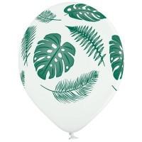 Гелиевые шары белые тропические листья