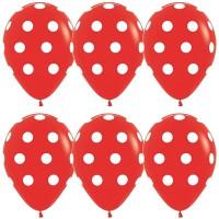 Латексные шары красные в белый горошек