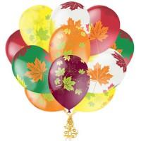 Связка из 11 латексных шаров с листьями