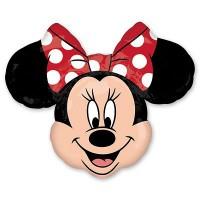 Фигурный шар голова Минни Маус красный бант в белый горошек