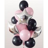 Гелиевый фонтан с серебряными фольгированными звездами и шарами в розово-черных тонах