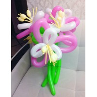 Букет из 5 розово-белых цветов