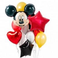Связка с Микки Маусом, фольгированным звездами и сердцами