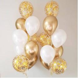 Гелиевые фонтаны из шаров в бело-золотых тонах
