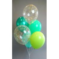 Фонтан из 6 шаров с конфетти и шаров в зелено-салатовых тонах