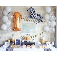 Оформление стола на день рождения ребенку - фонтаны из шаров, цифра и зебра