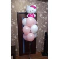 Фонтан из шаров в пастельных тонах с Hello Kitty