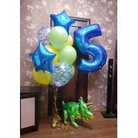 Цифра, динозавр и фонтан из 12 шаров со звездами и конфетти