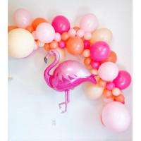 Разнокалиберная гирлянда с фламинго в розовом цвете