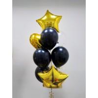 Фонтан из 7 шаров с фольгированными звездами и сердцем в черно-золотых тонах