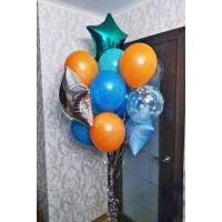 Гелиевый фонтан с фольгированными звездами и шарами в оранжевых, сине-голубых и серебристых тонах