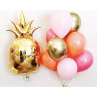Сет из фигурного фольгированного ананаса и фонтана из розово-золотых шаров