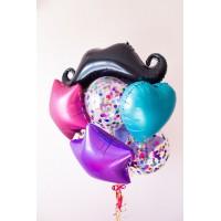 Фонтан с фольгированными усами, звездами, сердцем и шарами с конфетти