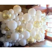 Гелиевая фотозона панно из шаров белых и с конфетти