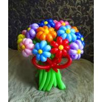 Букет из 15 ромашек радужных цветов