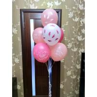 Связка из 7 шаров в розовых тонах на выписку девочки