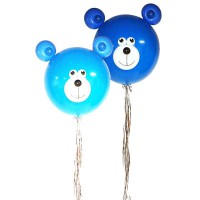 Большой шар синий мишка на ленте дождик