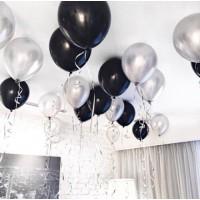 Гелиевые  серебристо-черные шары под потолок