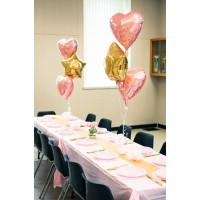 Фонтаны из 3 шаров: сердец и звезд для оформления стола