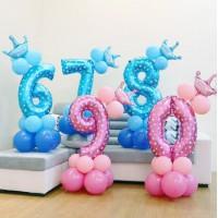 Цифра с короной в голубая/розовая