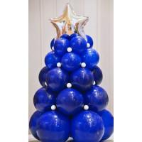 Композиция синяя новогодняя ель со звездой на основании