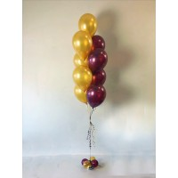Фонтан из 9 шаров с основанием из золотых и бордовых шаров