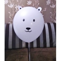 Белый шар стандартный с мордочкой мишки