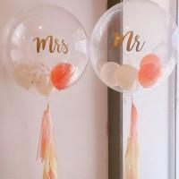 Баблс Mr и Mrs в персиковых тонах на гирлянде тассел