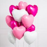 Связка из 11 фольгированных сердец в розовых тонах
