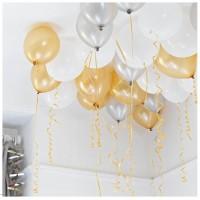 Золотые, серебристые и белые шары под потолок
