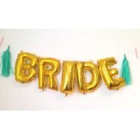 Растяжка из шаров с воздухом невесте BRIDE с двумя кисточками тассел