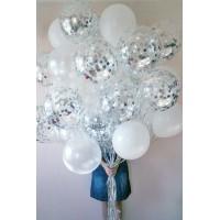 Связка из стандартных шаров белых и шаров с конфетти