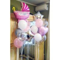 Сет с розовой коляской и фонтанами на выписку девочки
