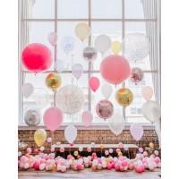 Фотозона из шаров в розово-золотых тонах