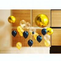 Фотозона с баблс, сферами, шарами с конфетти в черно-золотых тонах