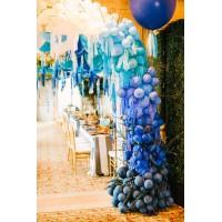 Разнокалиберная гирлянда с веточками и кисточками тассел в сине-голубых тонах