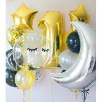 Гелиевая фотозона с цифрой, полумесяцем, баблс, звездами, шарами с конфетти, агатом и стандартными шарами