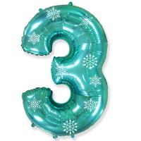 Цифра мятная со снежинками