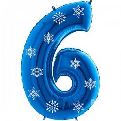 Цифры фольгированные синие со снежинками