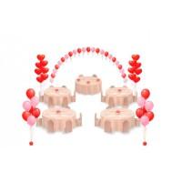 Оформление шарами в красно-розовой гамме с сердцами
