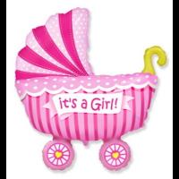 Шар коляска розовая