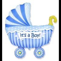 Шар коляска голубая