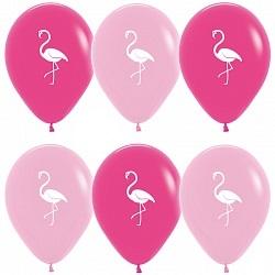 Гелиевые розовые шары с фламинго