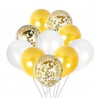 Связка шаров бело-золотая