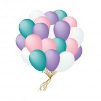Облако шаров белые мятные сиреневые розовые