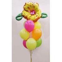 Гелиевый фонтан из шаров с цветком