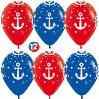 Гелиевые красно-синие шары с якорями