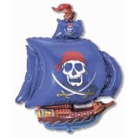 Синий пиратский корабль